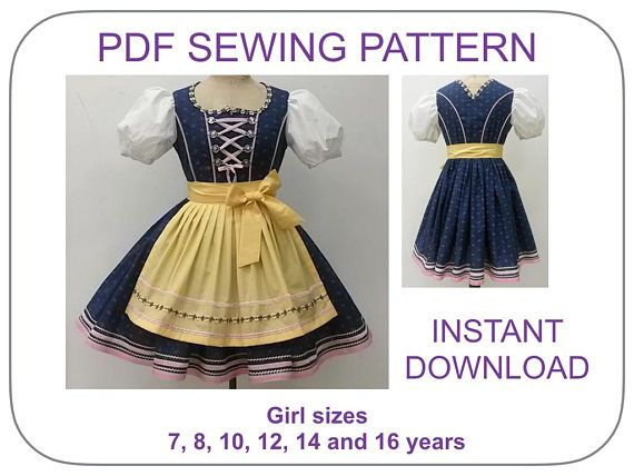 Girl Dirndl PDF Pattern Size 10 12 Yr 2 Piece Dress