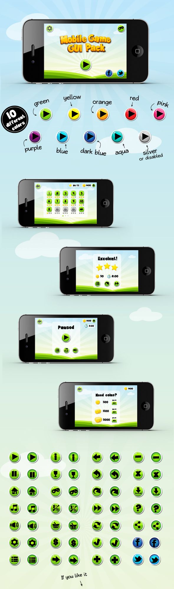 Mobile Game GUI Pack by Malgorzata Lau, via Behance