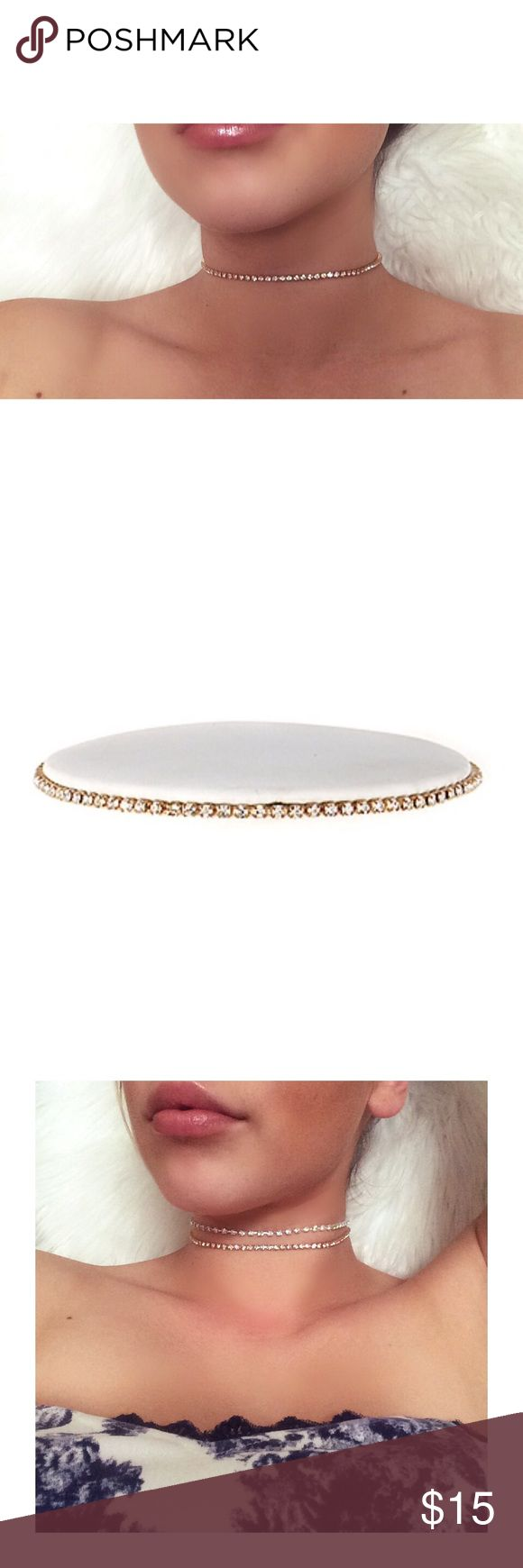 Rose Gold Choker Single row of gorgeous Faux Rose Gold Diamond. Amazing Quality. Brand new In Packaging. You're new favorite choker is here Jewelry Necklaces