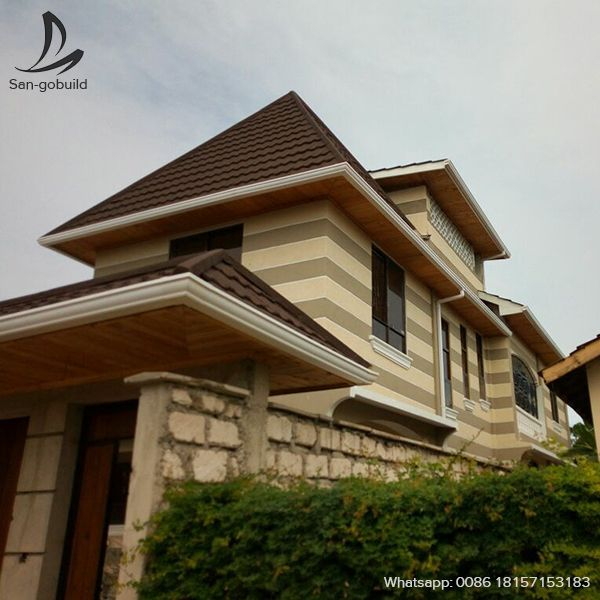 Sangobuild Stone Coated Metal Roofing Sheet Projects In Nairobi Kenya Classic Style With Brown Color Sheet Metal Roofing Aluminum Roof Corrugated Roofing