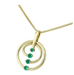 Custom made 18K yellow gold emerald pendant necklace with 0.50 Ct. t.w. in 4 round cut natural Colombian emeralds by www.GreenInGold.com #emeralds #pendant #necklace