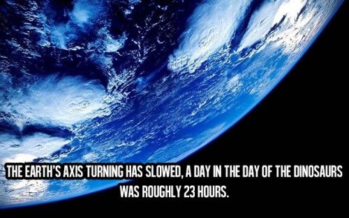 Awesome Facts About Life (16) The earth axis turning has slowed, a day in the day of the dinosaurs was roughly 23 hours...