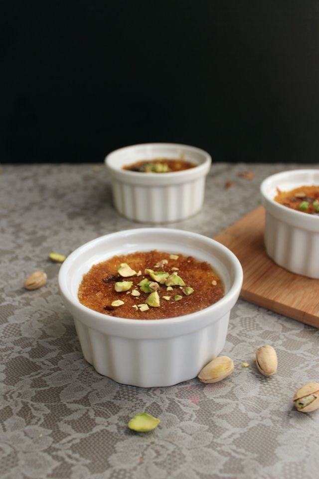 Pistachio Rosewater Creme Brulee | puddings and mousses | Pinterest