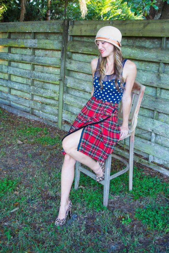 Vintage plaid skirt. Bobbi Brooks. Vintage by INTUITIONVINTAGE, $65.00