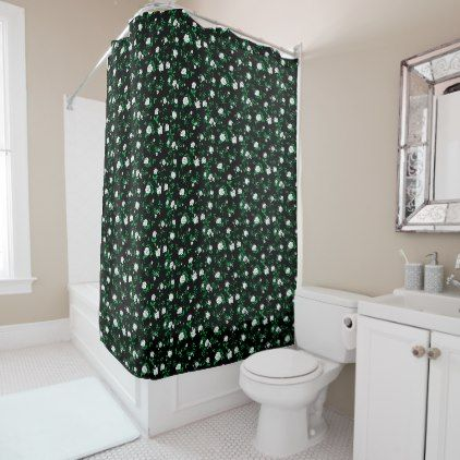 stylized white roses on black shower curtain shower curtains home decor custom idea personalize bathroom
