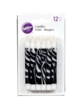 Zebra Print Birthday Candles 3in 12ct-Birthday Party Supplies-Party City