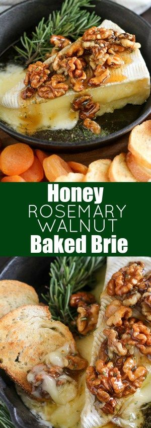 Honey, Rosemary & Walnut Baked Brie - A simple appetizer of baked brie cheese topped with honey, toasted walnuts and fresh rosemary. Serve with bread, crackers and fruit for dipping. This easy recipe is ready in about 10 minutes!
