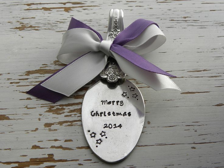 Merry Christmas 2014 - Spoon ornament - your choice of colors - stars - silver plated - antique - vintage - free shipping within USA