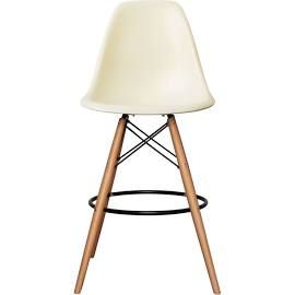 Eames Inspired Vanilla DSB Style Bar Stool with Natural Legs