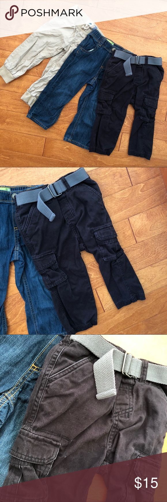 2T Boys Pants Lot, jeans, cargo pants, parachute The jeans and the parachute pants (super light weight!) are both 2T and the black cargo pants are 24 months.  Gently used. Clean. No stains.  Bundle 5 items and get 30% off plus FREE shipping!  Just bundle it and offer $7 less than the discounted price :)  <Shipping is $7 or less>  I will accept! Old Navy Bottoms Jeans