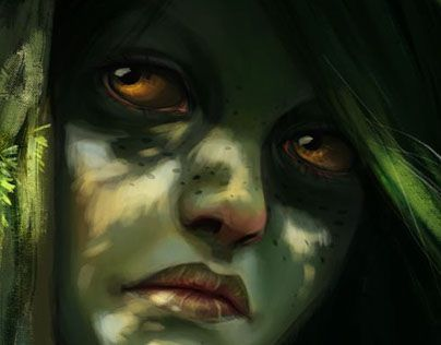 "Check out new work on my @Behance portfolio: ""Wood nymph"" http://on.be.net/1H38D5x #art #illustration #perchikk #girl #forest #fantasy #portrait"
