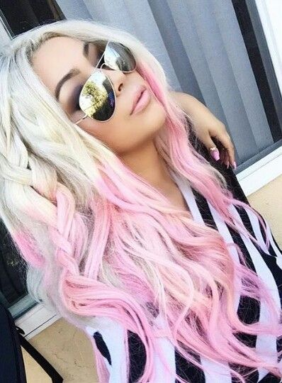 Blonde pink ombre dyed hair color @mixirobles