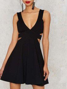 Black Deep V Neck Cut-out Side Flare Dress