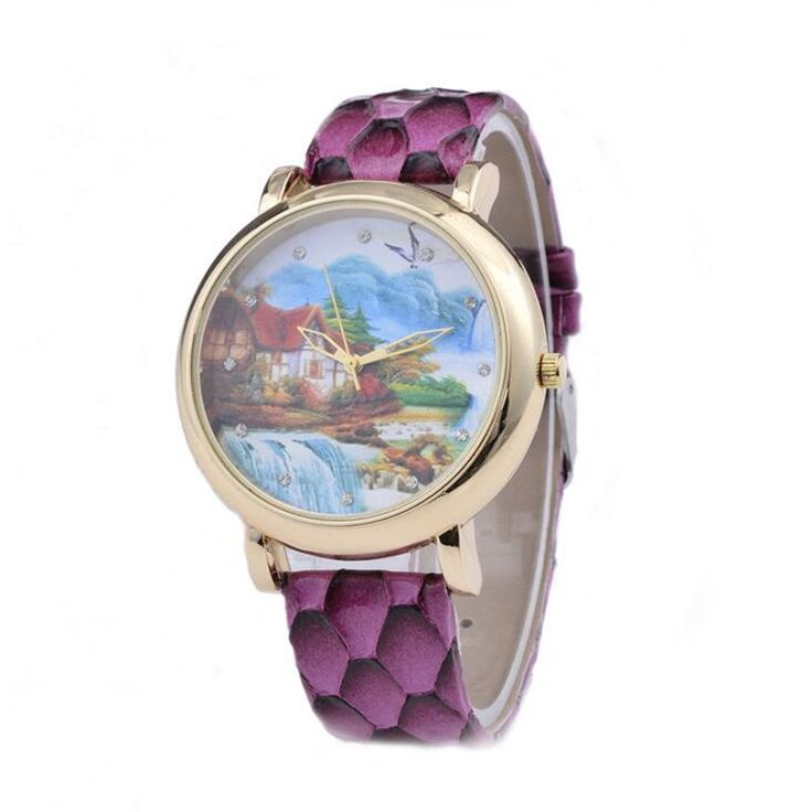 Printed Dream Home Leather Retro Women Quartz Watch Relojes Mujer 2017 Horloge Dames Ladies Vintage Geneva Wristwatch Clock A219