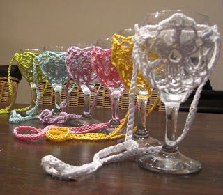 crocheted wine glass holder