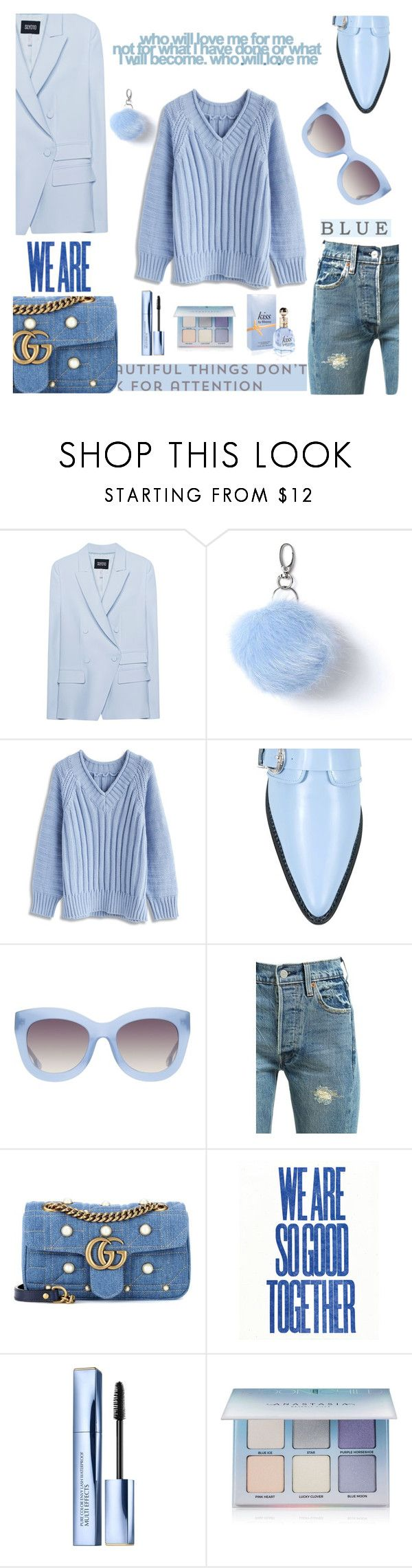 """Blue words"" by alexandrapitol ❤ liked on Polyvore featuring SLY 010, Miss Selfridge, Chicwish, Carven, Alice + Olivia, Levi's, Gucci, Estée Lauder and Anastasia Beverly Hills"