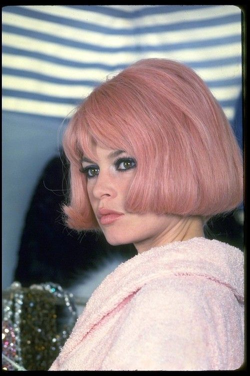 Brigitte Bardot on the set of À Coeur Joie, with pink locks