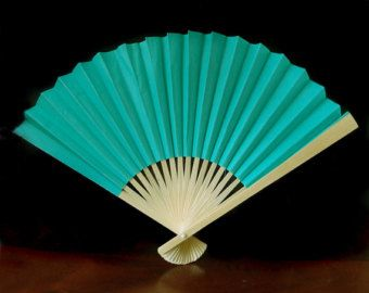9 Cool Mint Green Paper Hand Fans for by PaperLanternStore on Etsy