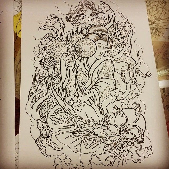Ive got this large scale piece up for grabs. Message me here or email me at jbtattoo@live.com if you want it. #japanese #tattooflash #tattooart #dragon #geisha #melbournetattoo @greenlotustattoo @theroseandanchor
