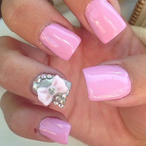 pink nails with bow ♥