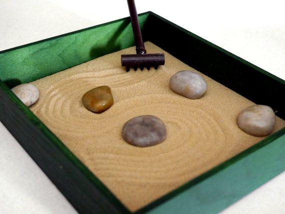 Zen Garden Zen Box Green Home Decor Coffee Table Accessories Green Decor Calming Office