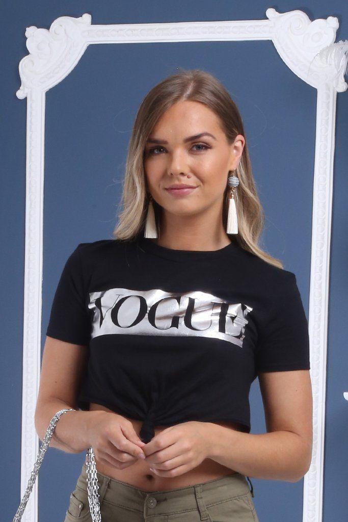 e24c3521cfbf48 Loreta Black VOGUE Slogan Foil Print Crop Top