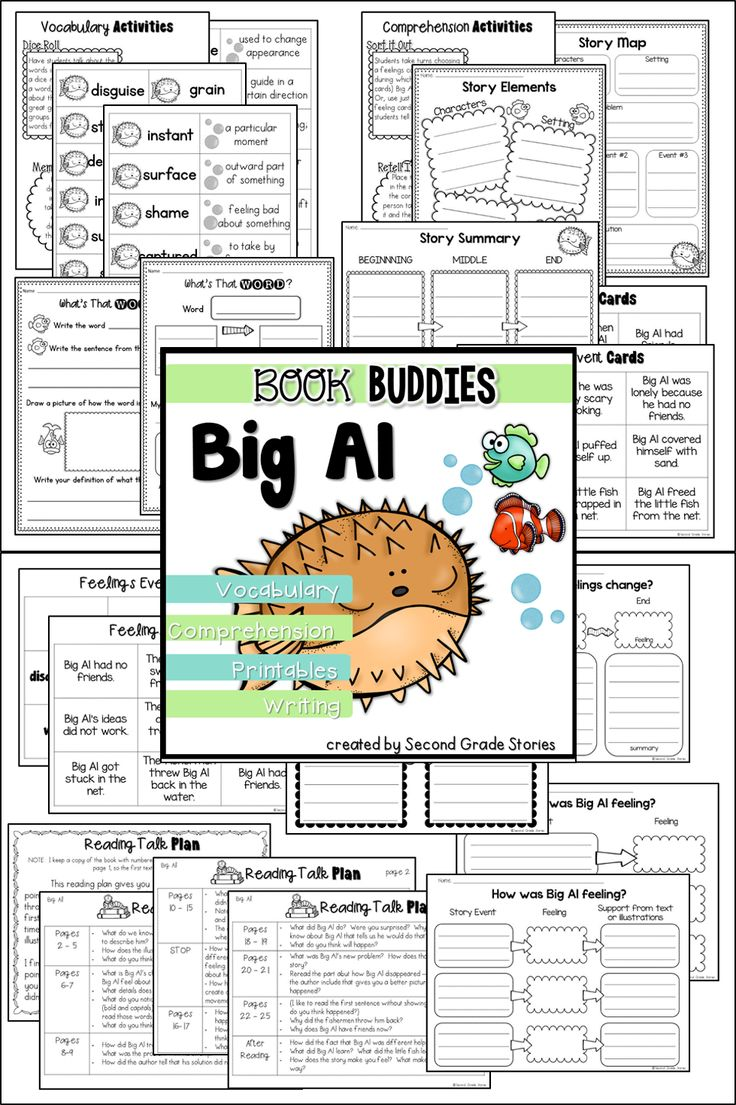Vocabulary, reading comprehension and writing activities for the book Big Al