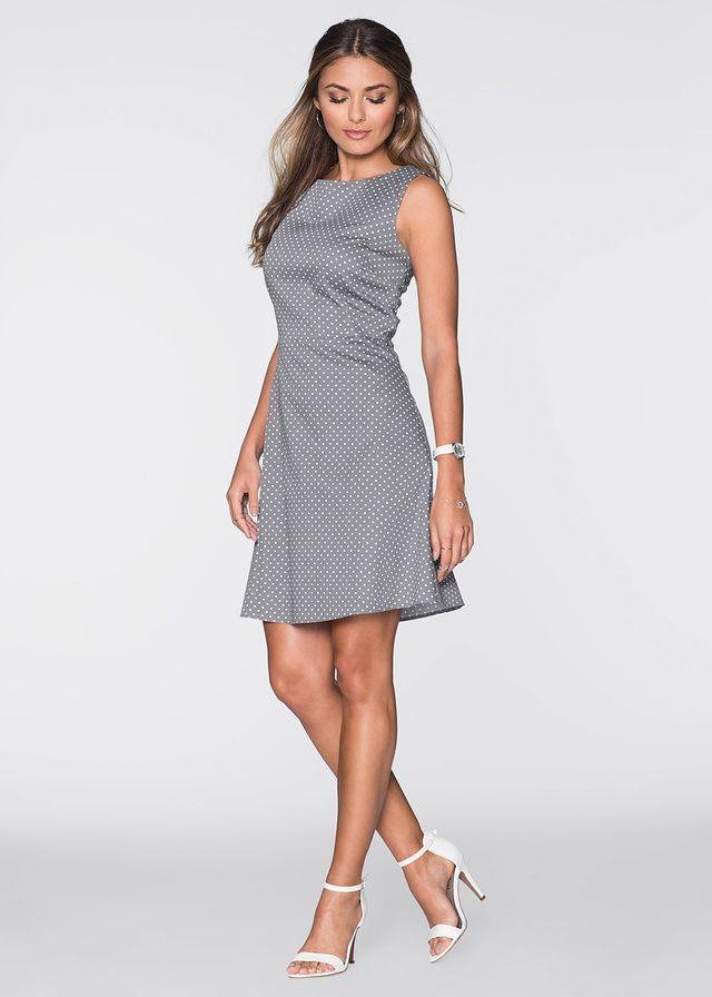 Elegancka bawełniana szara sukienka w kropki   http://fashion4u.pl