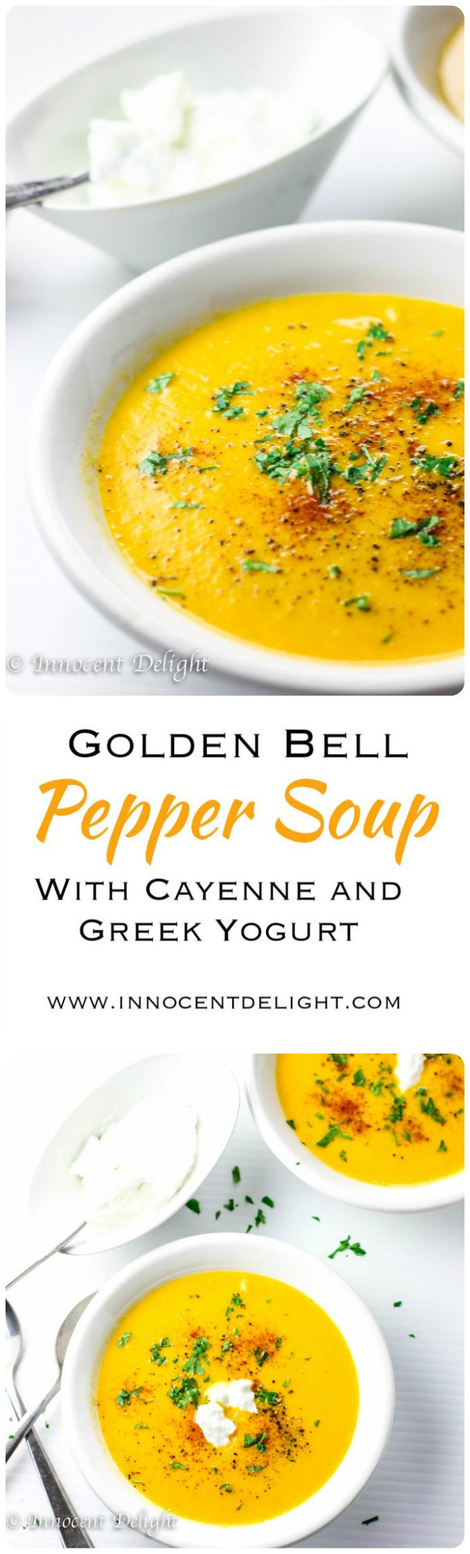 Golden Bell Pepper Soup with Cayenne and Greek Yogurt.