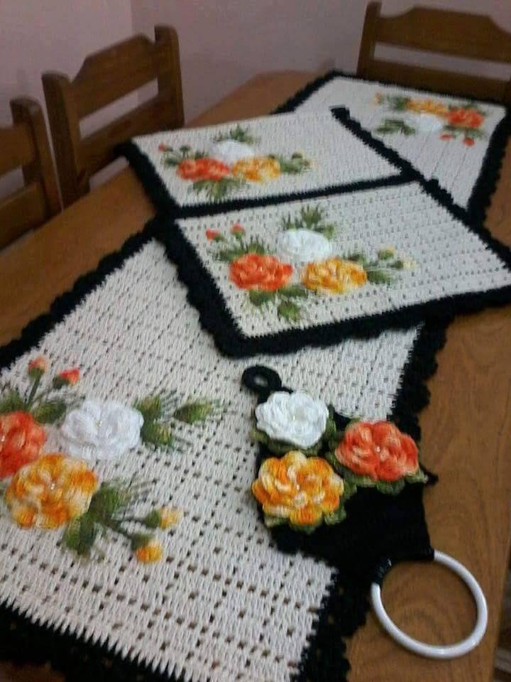 25 melhores ideias sobre jogo de cozinha croche no - Tapetes para mesa ...