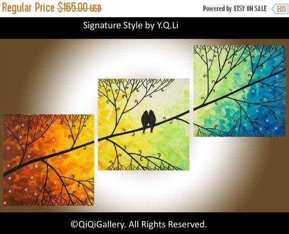 """Kunst schilderij van hedendaagse muur kunst liefde vogels kunst set van 3 schilderij rood geel oranje groen blauw canvas schilderij """"Harmony"""" van QIQIGALLERY"""