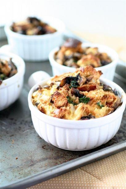 Veggie mushroom bread puddings.