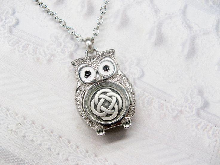 Silver Owl Necklace - Silver Celtic Knot - Silver Celtic Owl - Jewelry by BirdzNbeez. $28.00, via Etsy.