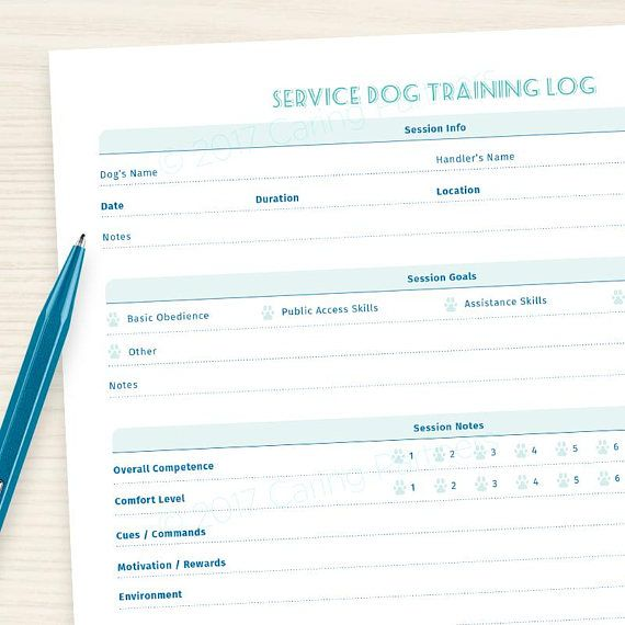 Service Dog Training Form Editable Pdf Start Logging Your