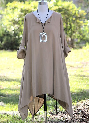 Oh My Gauze Cotton Lagenlook Tiki Long Kurta Tunic Top