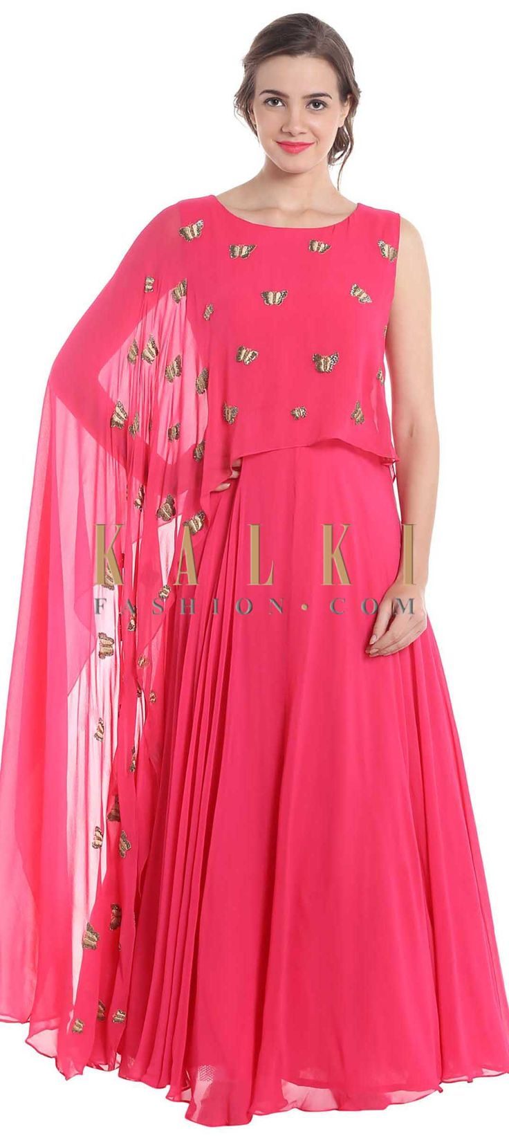 Rani pink georgette suit with resham and cut dana butterfly motifs only on Kalki
