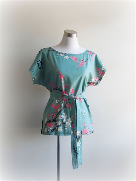 teal pink cherry blossom two tone tunic top by Wanderlust Clothing Women | Wanderlust clothing by Miss Fancypants | madeit.com.au