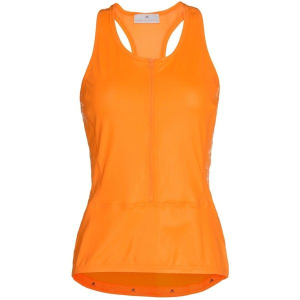Stella McCartney Orange Cycling Climacool Tank (1,685 MXN) ❤ liked on Polyvore featuring activewear, activewear tops, golden syrup, logo sportswear, adidas sportswear, adidas activewear and adidas