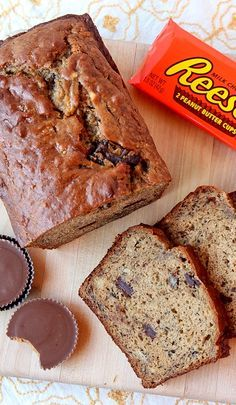 Peanut Butter Cup Banana Bread . . .-- omggg I will make this for my sally!!!