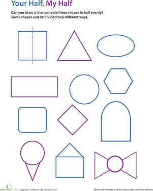 Second Grade Geometry Worksheets: Draw the Line of Symmetry