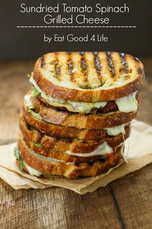 Sun dried tomato spinach grilled cheese sandwich | Eat Good 4 Life So good. Done in just 10 minutes.