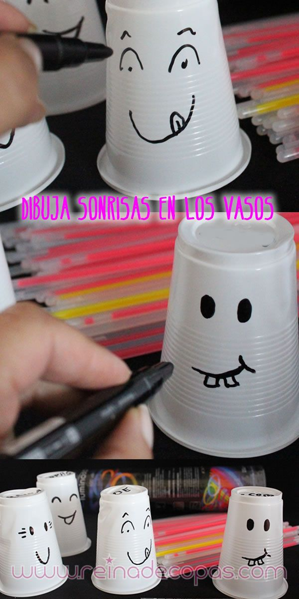 DIY. Solo necesitas unos vasos de plástico, un rotulador y pulseras luminosas de la mejor calidad. http://www.reinadecopas.com/es/luminosos/9-pulseras-luminosas-100-uds.html