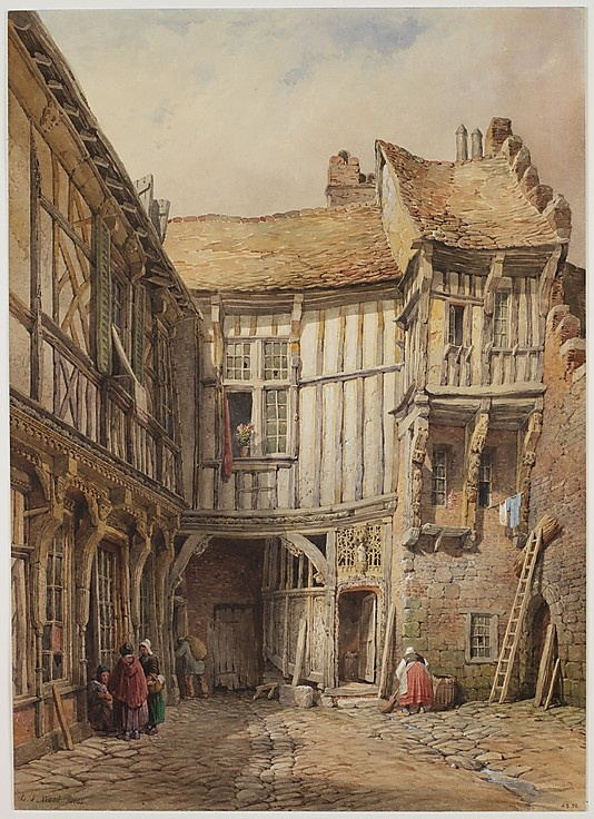 Courtyard of House at no. 29, Rue de la Tannerie, Abbeville, Somme, France; said to be from the reign of François I