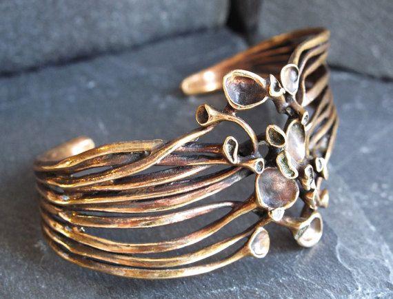 Hannu Ikonen Reindeer Moss Cuff Bracelet  Bronze Renmoosblüte