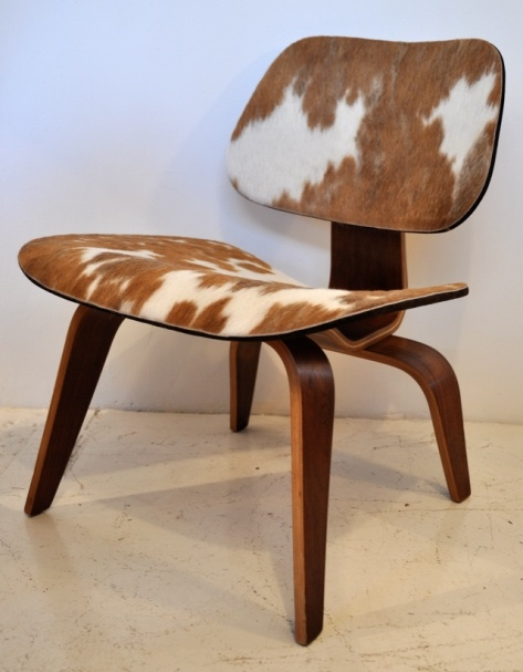 *industrial design, furniture, seating, chair, cow hide* - Vintage Eames Calf skin LCW