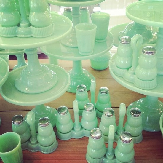 Design Field Trip: 4th Street, Berkeley: Seeing this minty green milk glass (on sale at Rejuvenation) en masse was a good reminder of the power of multiples!