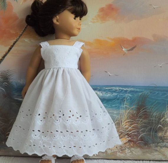 American Girl Doll Clothes Dress Long White Cotton Eyelet Sundress