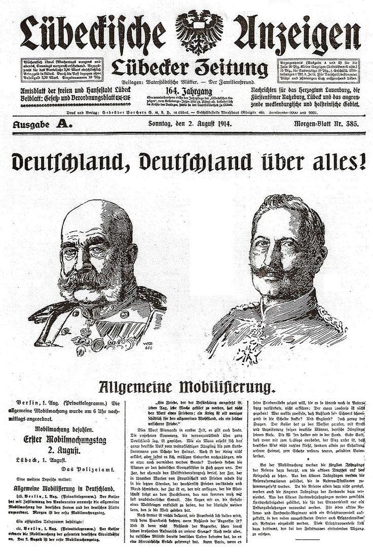 HL Damals – Lübecker Anzeigen - Erster Weltkrieg – Wikipedia