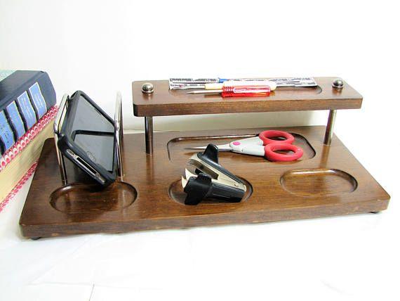 Mid-Century Walnut Wood Dresser Valet, Tiered Shelf, Silver Metal Brackets and Accents ... Office Desk Organizer, Charging Station, Caddy