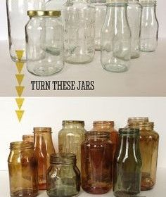 DIY color tinted jars...how cool and easy